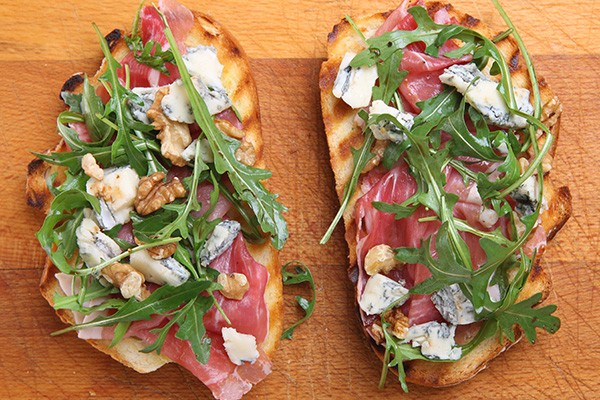Goat Cheese, Fig Jam and Prosciutto Bruschetta